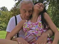 Skinny Black Haired Teen Miho Gets Her Cooch Plowed By Lonely Geezer
