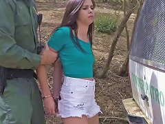 Naughty Cutie Caught In The Forest By Border Patrol And Is Fucked