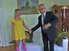 Hussy Teen Bianka Demonstrates Her Hairy Pussy To Jim Slip