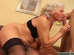 Horny Grandma Fucks A Younger Guy In A Kinky Clip!