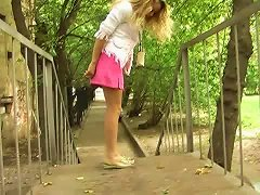 Hot Russian Teen Blondie Pees In Her Pink Panties And Flashes It