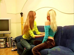 Skinny Teen Maria Experimenting With Her Lesbian Friend