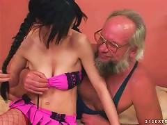 Cute Teen Brunette Enjoys Hard Sex With Grandpa