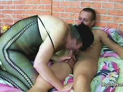 Hairy Granny Sucks Off Young Cock