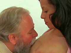 Sexy Brunette Chick Pleased By A Horny Grandpa On The Armchair