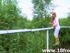 Petite 18yo Teens Teasing Outdoors
