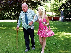 Slutty Blonde Teen Sucks And Fucks An Old Fart's Ugly Cock Outdoors