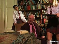 Hot Teens In School Uniform Get Fucked By An Old Dude