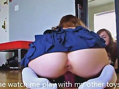 Teen Ginger Rides Huge Dildo In Pussy And Ass